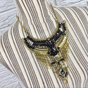 Gold & Rhinestone Boho Statement Necklace